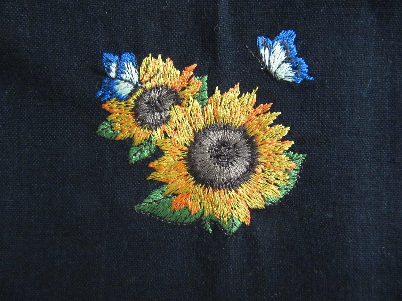 Sunflowers Embroidered on Black Cotton Kitchen Tea Towel