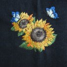 Sunflowers Embroidered on Black Cotton Kitchen Tea Towel