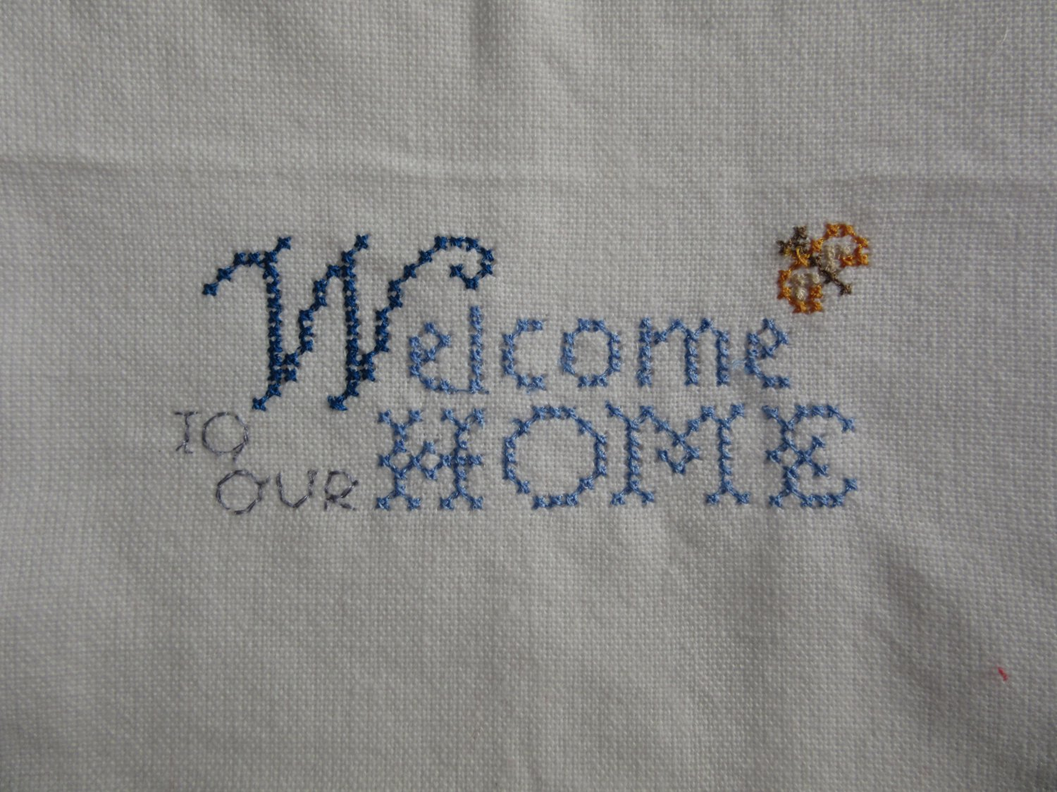 Kitchen Tea Towel Welcome to Our Home Embroidered on White Cotton