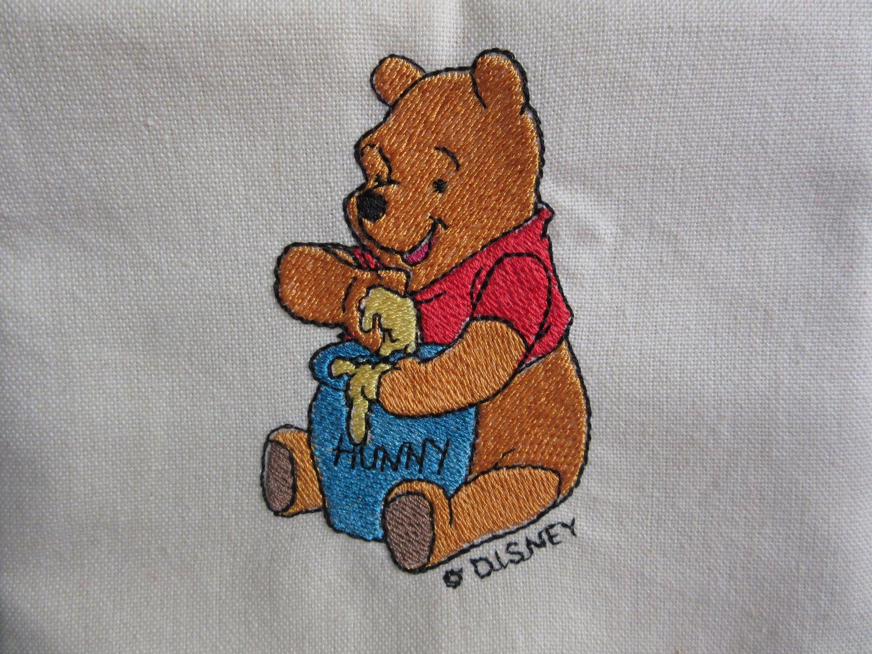 Disney Winnie the Pooh Embroidered on Beige Cotton Kitchen Tea Towel