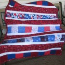 Patriotic Fireworks Red, White & Blue Summer Cotton Handmade Quilt