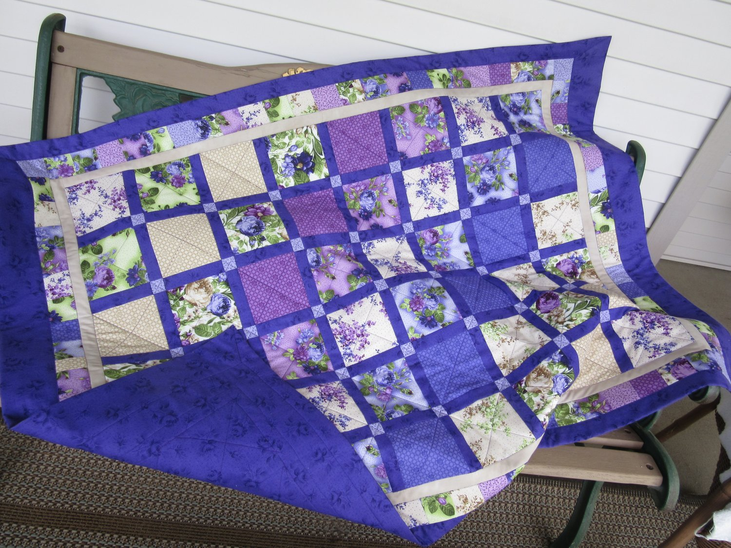 Shades of Purple Patchwork Handmade Pieced Cotton Lap Quilt