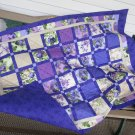 Purple Handmade Pieced Cotton Patchwork Lap Quilt