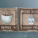 Handmade Coffee on Sage Quilted Hot Pads, Pot Holders, Mug Rugs - Sold in Pairs