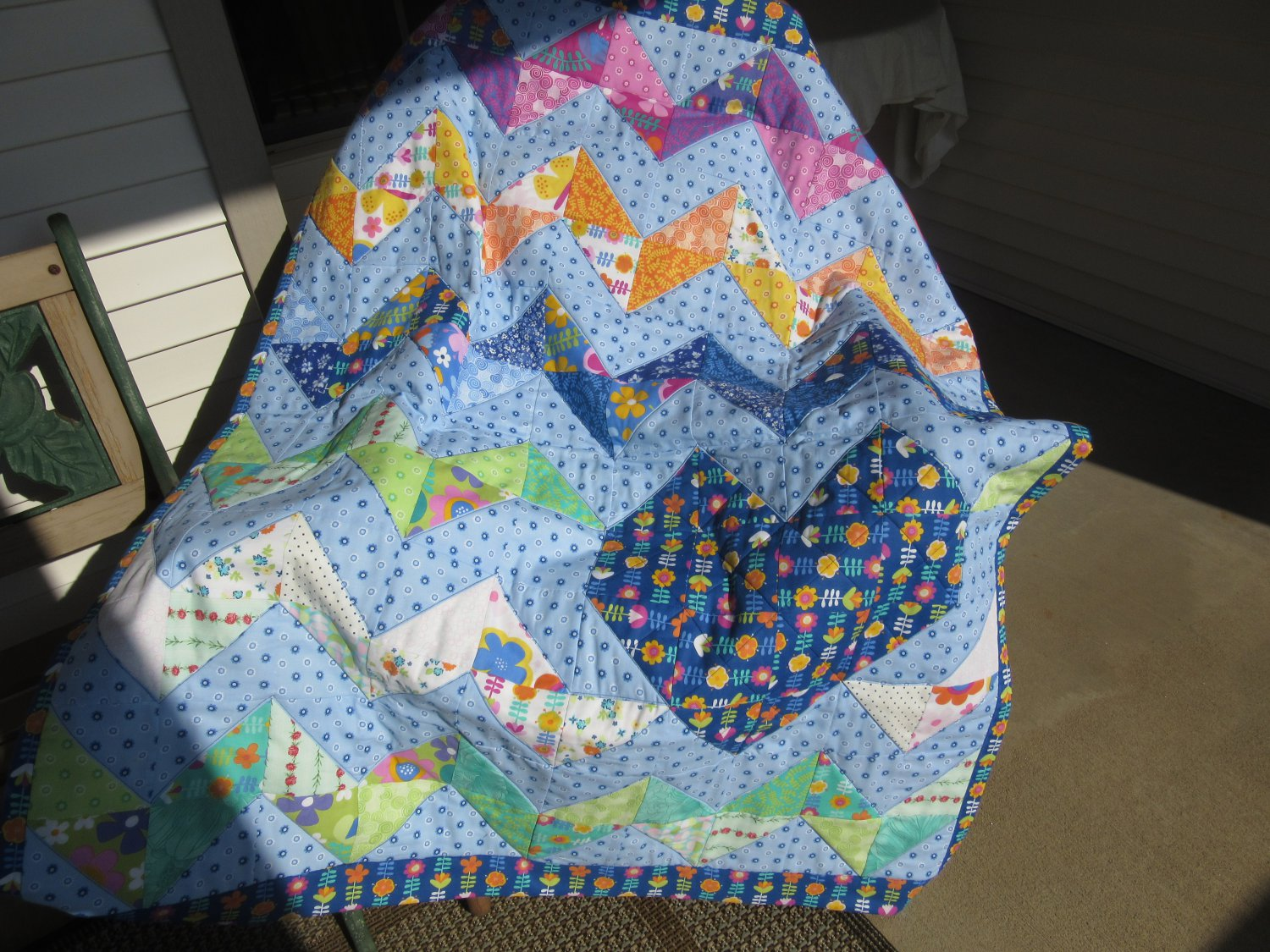 Chevron Zig Zag and Heart Pieced Cotton Patchwork Lap Quilt in Icy Blue
