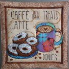 Use for Mug Rug, Pot Holder or Hot Mat - Handmade Coffee & Donuts Print - sold single