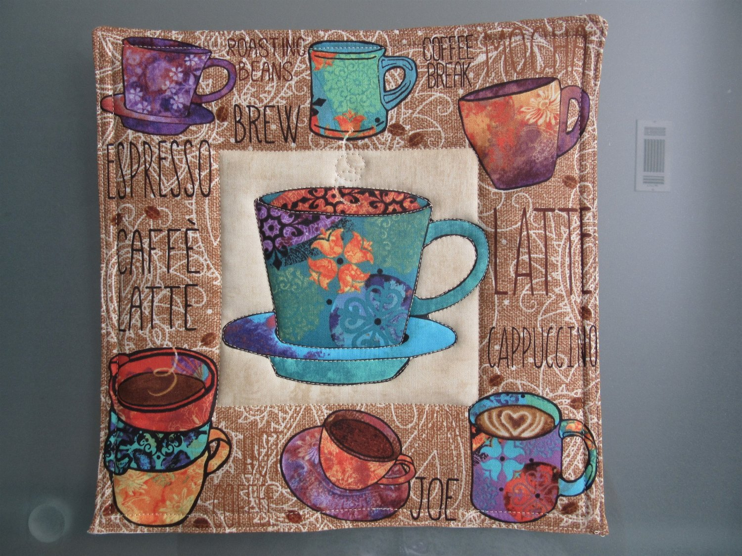 Use for Mug Rug, Pot Holder or Hot Mat - Handmade Turquoise Cup Print - sold single