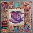 Use for Mug Rug, Pot Holder or Hot Mat - Handmade Purple Cup Print - sold single