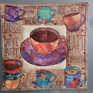 Use for Mug Rug, Pot Holder or Hot Mat - Handmade Fall Colors Cup Print - sold single