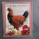 Use for Mug Rug, Pot Holder or Hot Mat - Handmade Geranium Chicken Print - sold single