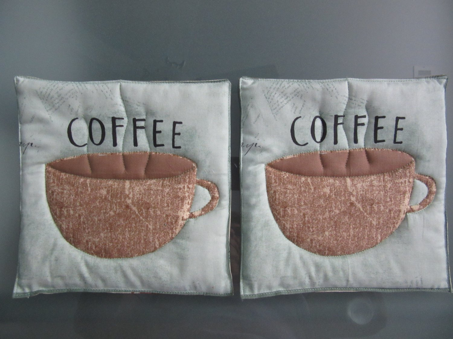 Quilted Hot Pads, Pot Holders, Mug Rugs Handmade Coffee Cups on Sage - Sold in Pairs
