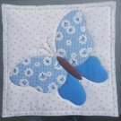 Blue Butterfly, Use for Mug Rug, Pot Holder or Hot Mat - Handmade - sold single