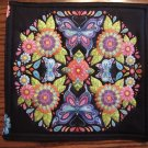 Butterfly Floral Design on Black Pot Holder or Hot Pad
