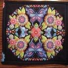 Butterfly Floral Design on Black Pot Holder or Hot Pad