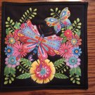 Large Butterfly Floral Design on Black Pot Holder or Hot Pad