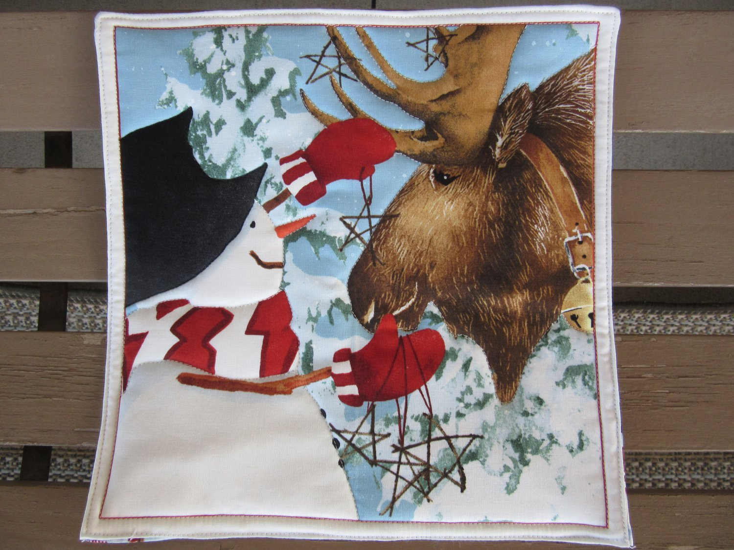 Snowman with Reindeer, Use for Mug Rug, Pot Holder or Casserole Hot Mat