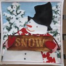 Snowman with Sign, Use for Mug Rug, Pot Holder or Casserole Hot Mat