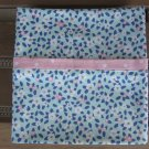 Aqua with White & Pink Flowers fits Standard or Queen Size Cotton Pillow Case