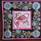 Pink Bird Print, Use for Mug Rug, Pot Holder or Casserole Hot Mat