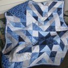 Star Design Pieced Cotton Patchwork Lap Quilt in Blue and Gray