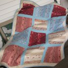 Split Rail Design Pieced Cotton Patchwork Lap Quilt in Asst Coordinating Colors