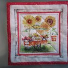 Produce Stand Sunflowers Print, Use for Mug Rug, Pot Holder or Casserole Hot Mat