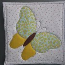 Yellow Butterfly, Use for Mug Rug, Pot Holder or Hot Mat - Handmade - sold single