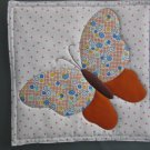 Orange Butterfly Use for Mug Rug, Pot Holder or Hot Mat - Handmade - sold single