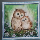 Brown Owls on Green, Use for Mug Rug, Pot Holder or Casserole Hot Mat - Sold as Single