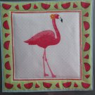 Pink Flamingo, Use for Mug Rug, Pot Holder or Hot Mat - Handmade - sold single
