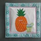 Pineapple with Drink, Use for Mug Rug, Pot Holder or Hot Mat - Handmade - sold single
