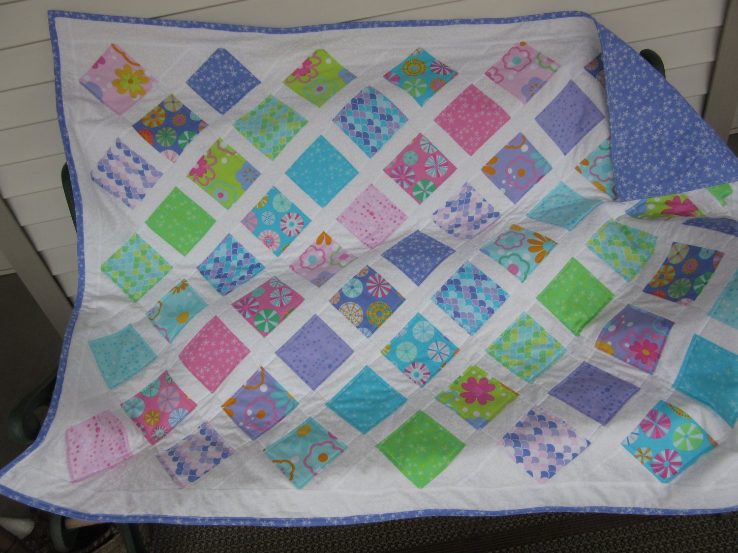 Pastel Diagonal Design Pieced Cotton Patchwork Lap Quilt in Pastels with White on White Floral Print