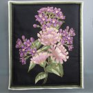 Lavender Bouquet #1 on Black, Use for Mug Rug, Pot Holder, Hot Pad or Casserole Hot Mat
