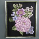 Lavender Bouquet #4 on Black, Use for Mug Rug, Pot Holder, Hot Pad or Casserole Hot Mat