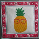 Pineapple with Glasses, Use for Mug Rug, Pot Holder or Hot Mat - Handmade - sold single