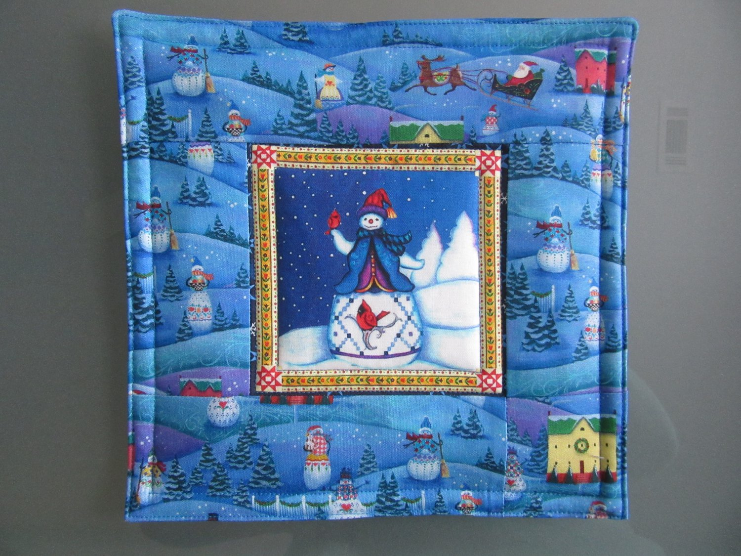 Reversible Jim Shore Snowman, Large Mat to Use for Mug Rug, Pot Holder or Casserole Hot Mat