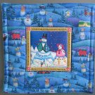 Reversible Jim Shore Snow Couple, Large Mat to Use for Mug Rug, Pot Holder or Casserole Hot Mat