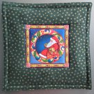 Reversible Jim Shore Santa on Green Pieced Cotton-Use for Mug Rug, Pot Holder, Casserole Hot Mat