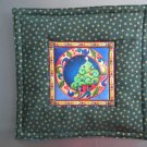 Reversible Jim Shore Tree on Green Pieced Cotton-Use for Mug Rug, Pot Holder, Casserole Hot Mat