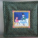 Reversible Jim Shore Snow Couple on Green Pieced Cotton-Use for Mug Rug, Pot Holder,  Hot Mat