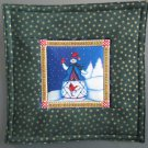 Reversible Jim Shore Snowman on Green Pieced Cotton-Use for Mug Rug, Pot Holder,  Hot Mat