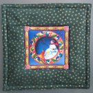 Reversible Jim Shore Circle Snowman on Green Pieced Cotton-Use for Mug Rug, Pot Holder,  Hot Mat