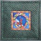 Reversible Jim Shore Circle Reindeer on Green Pieced Cotton-Use for Mug Rug, Pot Holder,  Hot Mat