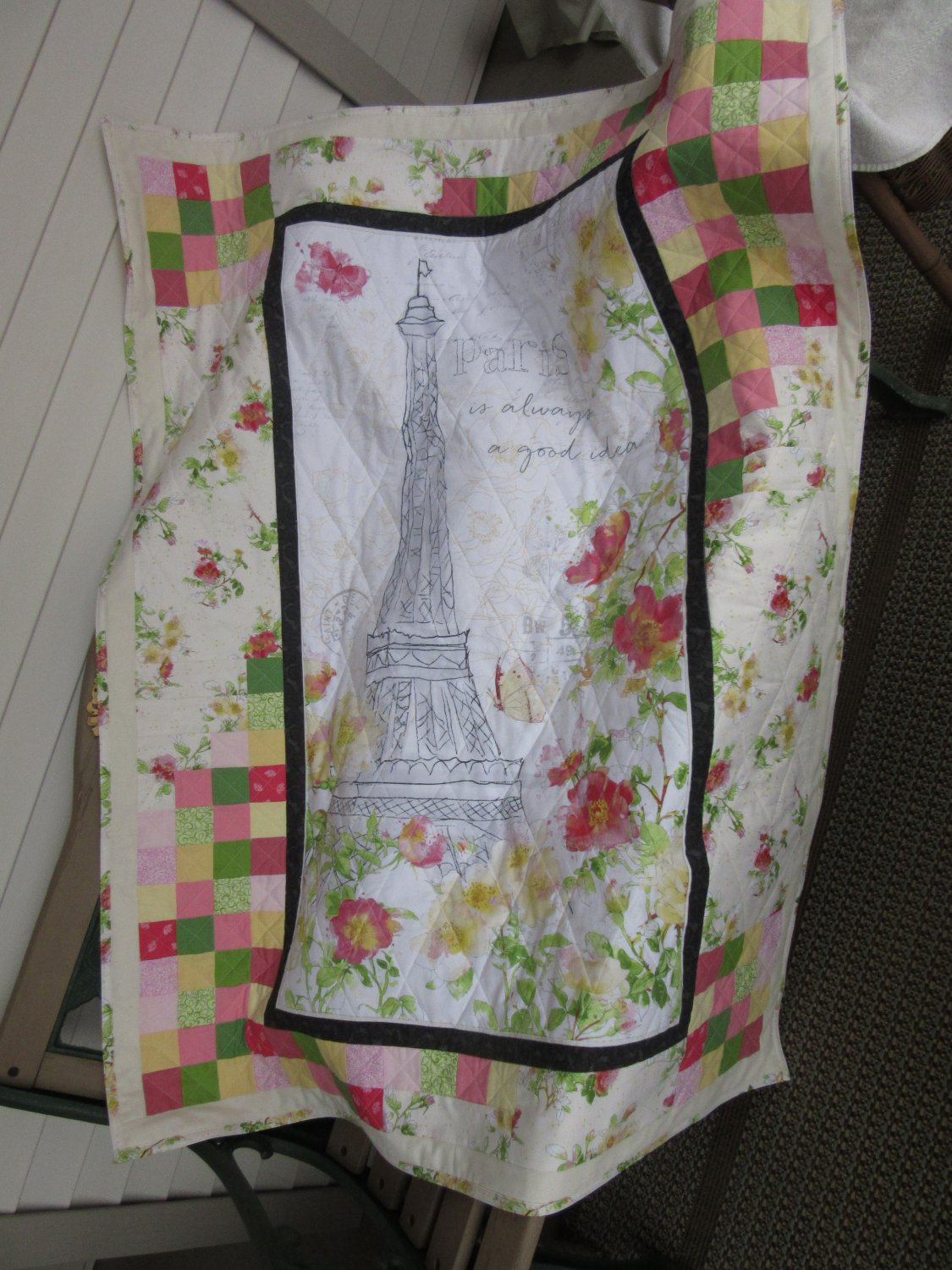 """Paris is always a good idea"" Pieced Patchwork Quilt for Crib, Baby or Lap - Handmade Cotton"