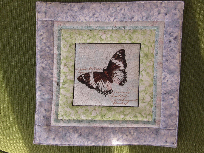 Pot Holder Butterflies & Hydrangeas Reversible Casserole Hot Mat, Hot Pad - Brown Butterfly