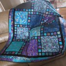 Dramatic Lap Quilt Pieced Patchwork, Purple and Aqua with Gold Metallic Handmade