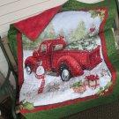 Lap Quilt Red Truck in Snow Patchwork Gold Metallic Scrolls on Green Border - Handmade Cotton