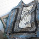 "Handmade Small Quilt ""Dragonfly Moon"" Pieced Patchwork Cotton for Lap or Nap"