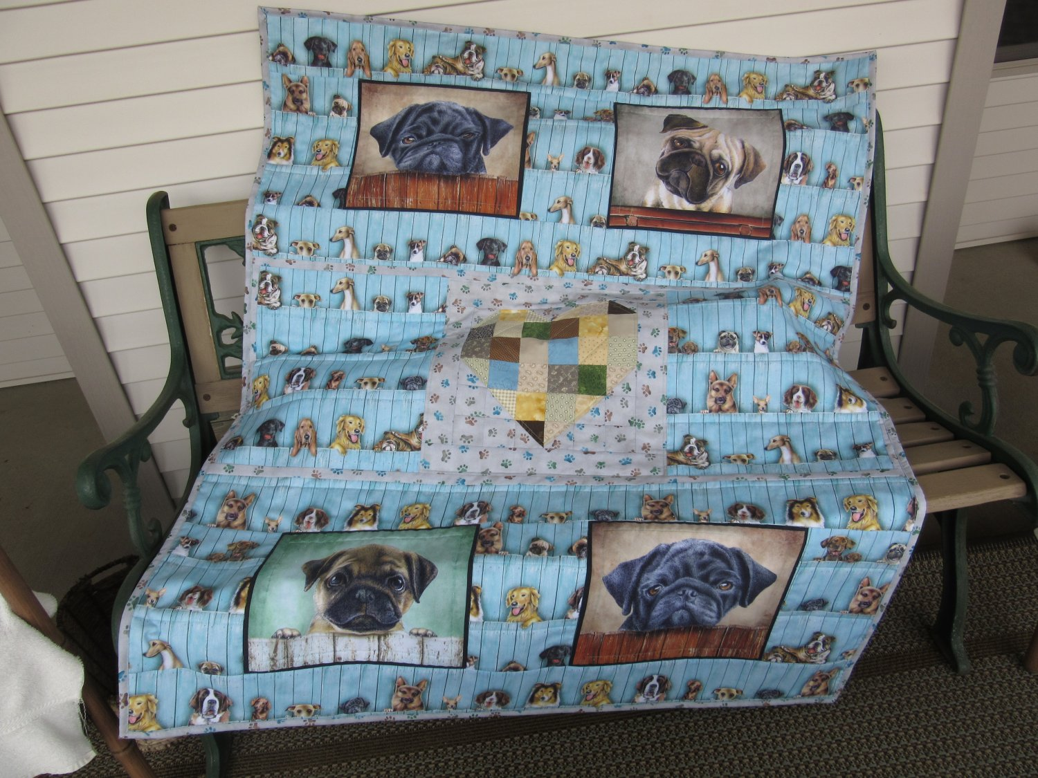 Small Quilt Dog Lovers Unique Patchwork Design - Handmade Cotton for Lap or Nap