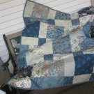 Small Quilt Blue and Beige Traditional Decor Pieced Patchwork - Handmade Cotton